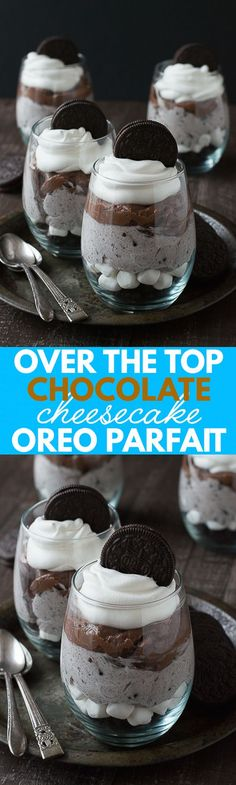 Over the Top Chocolate Cheesecake Oreo Parfaits - this is the BEST chocolate parfait! Over the Top Chocolate Cheesecake Oreo Parfaits - this is the BEST chocolate parfait! Oreo Cheesecake, Chocolate Cheesecake, Chocolate Desserts, Chocolate Chocolate, Chocolate Pudding, Oreo Trifle, Chocolate Party, Easy Desserts, Delicious Desserts