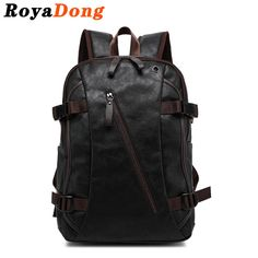 RoyaDong 2016 Backpack Men PU Leather Fashion Vintage Travel Men Bag for Teenagers ** Click the VISIT button to view the details