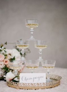 Champagne Coupe Tower | Bloggers Say I Do!