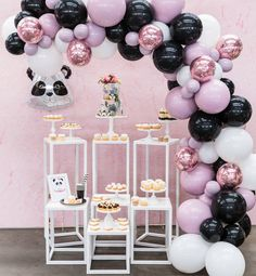 """1,323 curtidas, 24 comentários - Boutique Balloons Melbourne (@boutique_balloons_melbourne) no Instagram: """"My little panda party. loving these magical colors we created for this very cute theme cake and…"""""""