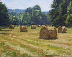 Kevin Menck Fine Art Landscape Artwork, Landscape Photos, Abstract Landscape, Green Landscape, Hay Bales, Art Studies, Paintings I Love, Farm Paintings, Acrylic Paintings