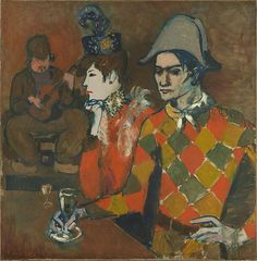 Pablo Picasso, 1905, Au Lapin Agile (At the Lapin Agile) (Arlequin tenant un verre), oil on canvas, 99.1 x 100.3 cm, Metropolitan Museum of Art