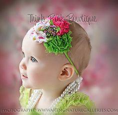 Green pink and party dots baby headbandBaby girl by ThinkPinkBows, $8.95