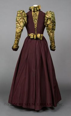 Midwestern Typical Day dress-Taffeta was popular during the 1890s, perhaps because its natural stiffness lent itself well to the angularity of the fashionable day silhouette.