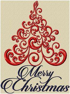 Machine Embroidery Design - Christmas Tree Swirl
