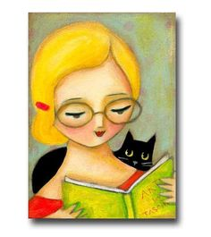 black cat reading time original illustration and artwork by tascha parkinson