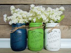 Painted mason jars navy blue green white by Rusticology on Etsy, $24.00