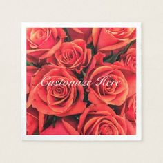 Personalized Roses Paper Napkin - paper gifts presents gift idea customize