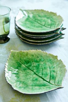 These exquisite Hydrangea Leaf Plates have been designed by the renowned French floral designer, Christian Tortu, who was inspired by the shapes, colours and landscape of the Riviera. Created in the shape of a hydrangea leaf with a verdant green glaze and Pottery Plates, Slab Pottery, Ceramic Pottery, Pottery Art, Ceramic Art, Thrown Pottery, Pottery Studio, Ceramic Mugs, Ceramic Bowls