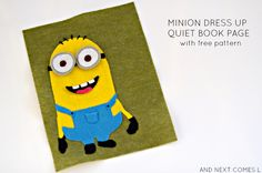 Minion dress up quiet book page with free printable pattern from And Next Comes L