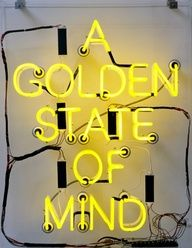 Creative Typography, Golden, State, Mind, and Creative image ideas & inspiration on Designspiration Inspiration Typographie, Typography Inspiration, California Love, California Living, Shades Of Yellow, Happy Colors, Mellow Yellow, Neon Lighting, Golden State