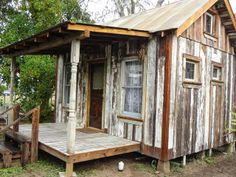 Tiny Texas House from Reclaimed Lumber. So adorable! The quality of these tiny texas homes are amazing!