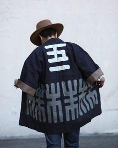 IDEA/NOTE : coat -- Vintage Happi / Festival Jacket: Deep Indigo 06 Kiriko's Wool Felt Hat, 06   www.kirikomade.com