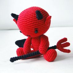 Pattern designed by Pepika. This pattern is a detailed pdf file of 12 pages with clear step-by-step pictures to help you. The finished Baby Devil is 7 inches (18 cm) tall standing. Pattern  $ 5.00 USD
