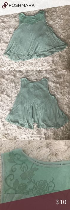 Kimchi Blue mint green floral accent tank Urban outfitters brand kimchi blue, collar has semi - see through floral decoration, back has a slit about halfway up in the middle. May have shrunk in the wash. Urban Outfitters Tops Blouses