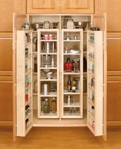 """45"""" Wood Swing-Out Pantry Kit, 2-Wood Swing-Out Pantries and 2-Wood Door Mount Units - Woodworker Express"""