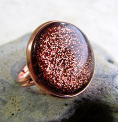 pink copper glitter ring