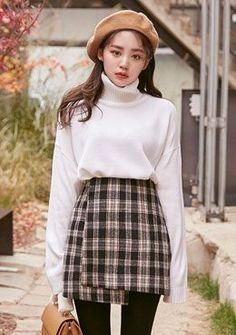 High Waisted Tartan Skirt | Korean Fashion