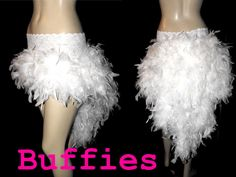 OMG...I SO WANT THIS>>> COSTUME PARTY!!!   Burlesque Moulin Rouge White Feather Bustle Skirt Black Pink White Red