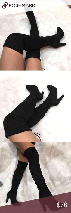 """Black over the knee high heel suede boots •sizes: 7  •features: has adjustable strings at the top of the boots. heel height: 3.5""""  •no trades  ⚠️ if this item does not fit you CANNOT return it - poshmark policy Daisys Boutique Shoes Over the Knee Boots"""