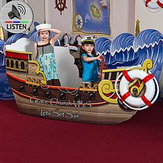 The Pirate Ship will be the hit of your little buccaneer's party. Best of all, the Pirate Ship prop can be personalized with your own custom text.