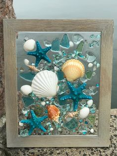 Free Shipping - Beach Glass and Starfish in Frame, Beach Glass Wave