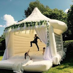 Wedding Bouncy Castle Trend The latest news on Wedding Planning is on POPSUGAR UK. On POPSUGAR UK, you will find news on entertainment, celebrities and Wedding Planning. Perfect Wedding, Fall Wedding, Dream Wedding, Wedding Castle, Luxury Wedding, Castle Weddings, Wedding House, Space Wedding, Wedding With Kids