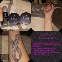 Younique Products For Tattoo Coverups | Cream Foundation | BB Cream | Pressed Powder Foundation | Glorious Primer | Younique's Cosmetics | Dual Purpose | Younique Presenter | Makeup | Makeup Artists | Beauty Products | Fastest Growing Team | Fastest Growing Younique Team | Direct Sales | Work From Home | Paid Instantly | Unlimited Income Potential | www.myyouniquelook.com