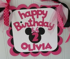 bow polka dot birthday food party theme birthday minnie mouse door sign name pink bow girly clubhouse mickey party toddler kid baby disney