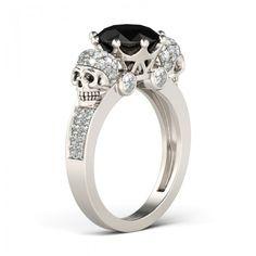 Two Skull Design Black Diamond Rhodium Plated Sterling Silver Skull Ring