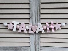 """TALAH"" PINK WOODEN LETTERS BABYNAME SHOWER NURSERY DECOR PERSONALIZED SHABBY  #NostalgieSpiel"