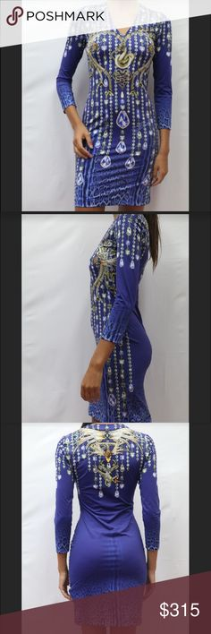 Just cavalli Cocktail crystal Leo Print dress Just cavalli blue dress with pattern of snake and jewels. Size 40 which is small in United States. Beautiful fit. 100 % authentic. Please see my Instagram for more pictures and dresses! @thesuitemiamibeach and offers accepted! Just Cavalli Dresses Long Sleeve
