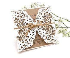 Craft Floral Laser Cut Wedding Invitations