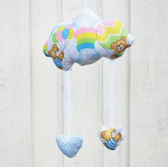 Teddy bear cloud mobile with hanging hearts with rainbows on - cloud mobile for nursery - Cloud mobile with raining hearts - baby mobile by leonorafi on Etsy