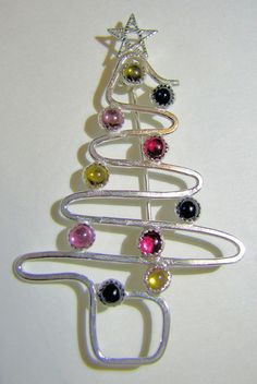 Sterling Silver and Sapphire Christmas Tree Pin by Jewelry24Seven