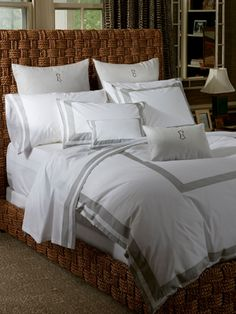 White Ceylon sheeting with a bold double-stripe appliqué in Greyson sateen mélange 520 thread count cotton percale woven in India with cotton sateen appliqué woven in Italy.