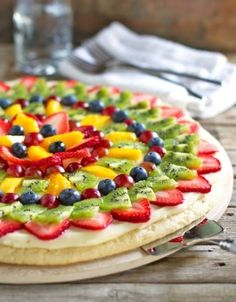 fruit pizza! Yummy and pretty to serve! My go-to dessert!!!