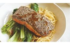 Chia-crusted Salmon with Asian Greens and Tamari Dressing