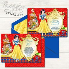 Do you have a big Snow White fan at home that's excited to have a Princess birthday party? Then look no further than this whimsically vibrant and playful invitation to help make their dreams come true! From bright reds and golds to pixie stars and the complimentary backside, this adorable Princess Snow White birthday invitation is sure to please your little princess and kick off the party in style! Snow White Invitations, Princess Birthday Invitations, Snow White Birthday, Tank I, Little Princess, Pixie, Vibrant, Birthday Parties, Bright