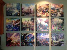 My Thomas Kinkade Disney wall- I wanna do this! Thomas Kinkade Art, Thomas Kinkade Disney, Disney Love, Disney Magic, Disney Pixar, Kinkade Paintings, Disney Bedrooms, Disney Home Decor, Disney Inspired