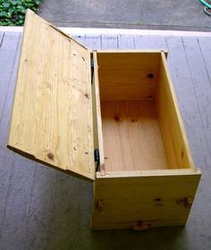 Chest with lid open