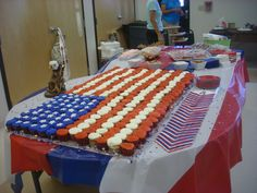 250 cupcakes for my grandsons Eagle Scout reception made a beautiful flag cake! Everyone loved this idea.