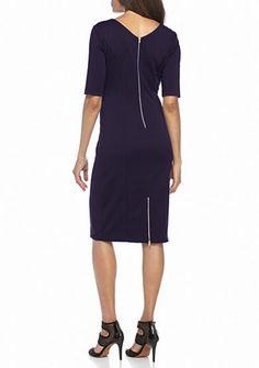Julian Taylor Elbow-Sleeve Scuba Sheath Dress