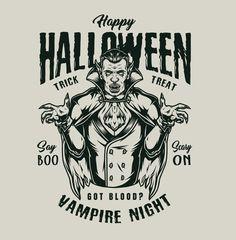 Vintage Halloween Vampire Vector Illustration from 21 Halloween t-shirt designs by DGIM Studio. 100% vector + editable text. Download Happy Halloween designs on our website. #vampire #halloween #halloweenparty #vector #vectorillustration