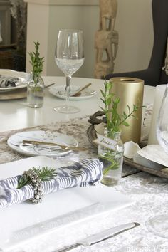 Simple Christmas Tablescape - The Inspired Room House Tour