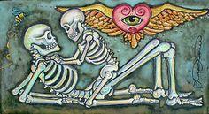 Lisa Luree Art Original Day of The Dead Skeleton Lovers Dia de Los Muertos OOAK | eBay