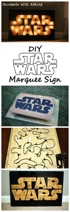 DIY Star Wars Marquee Sign Tutorial Manualidades Star Wars, Meninas Star Wars, Diy Wanddekorationen, Star Wars Bedroom Decoration, Star Wars Party Decorations, Starwars Diy, Star Wars Wall Art, Star Wars Room, Star Wars Lamp
