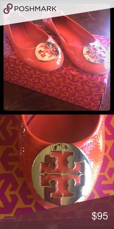 Tory Burch flats size 6 Tory Burch flats size 6. Color is habanero pepper/gold hardware. Shoes are stored in original box Tory Burch Shoes Flats & Loafers