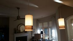 Raffia and twine wrapped lamp shades