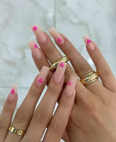 Square Acrylic Nails, Best Acrylic Nails, Square Nails, Acrylic Nail Designs, Heart Nail Designs, Simple Acrylic Nails, Cool Nail Designs, Edgy Nails, Stylish Nails